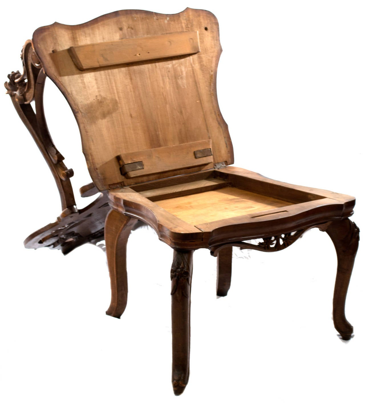 Elaborately Carved Black Forest Armchair with Hidden ...