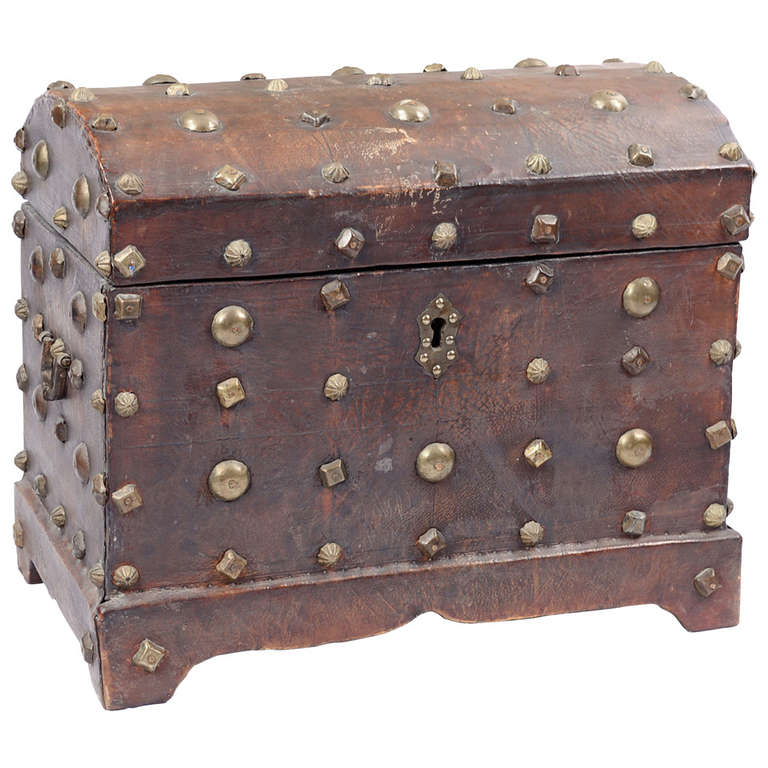 18th Century Spanish Red Leather Chest
