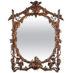 Black Forerst Grapevine Carved Walnut Mirror