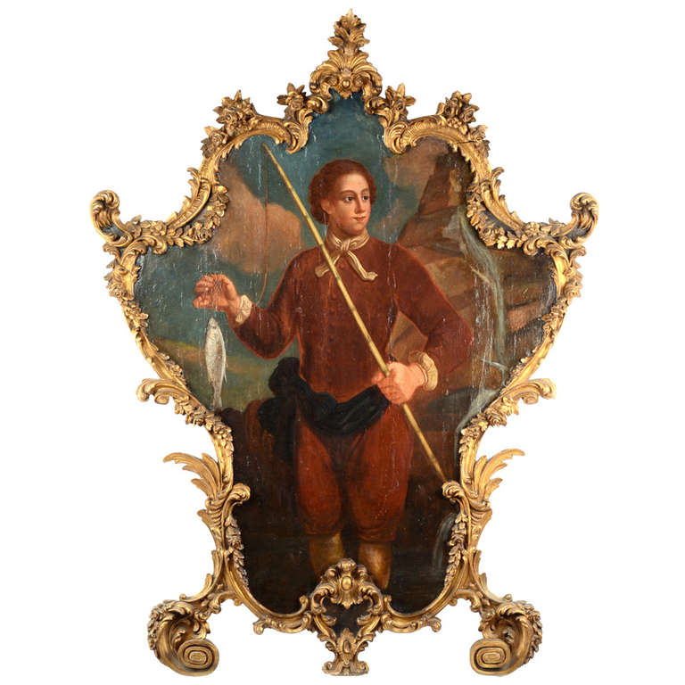 A Large 18th Century Oil Painting with Carved Rococo Frame