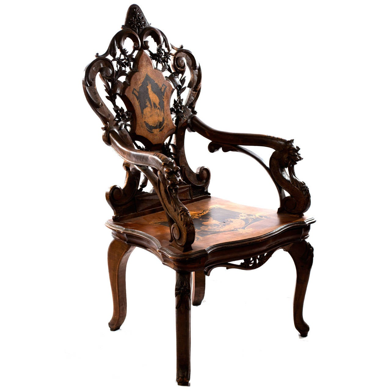 Elaborately Carved Black Forest Armchair With Hidden Compartment For Sale