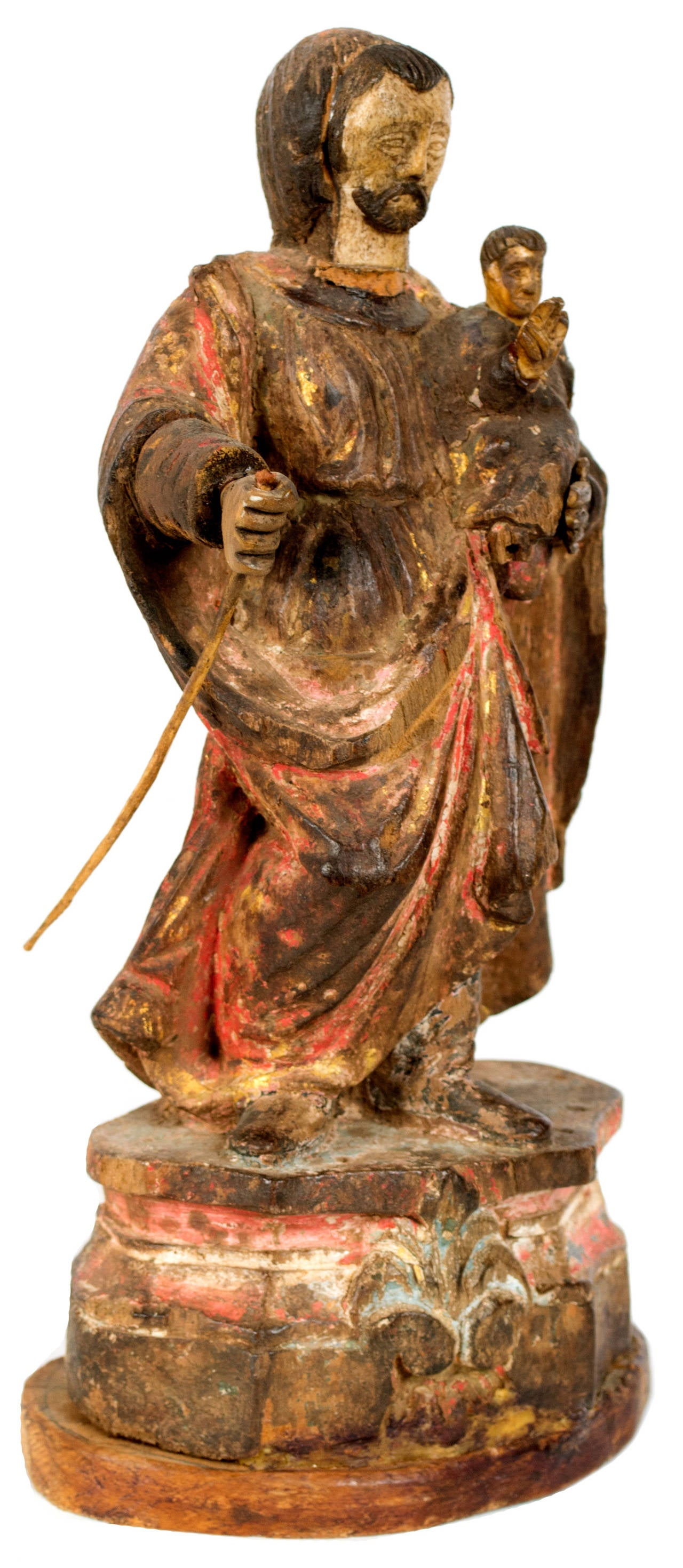 17th-Century Iberian Statue of a Saint In Fair Condition For Sale In Salt Lake City, UT