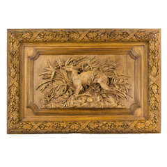 A Monumental French Oak Sculpted Plaque of Red Deer