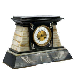 French Empire Marble and Onyx Mantle Clock