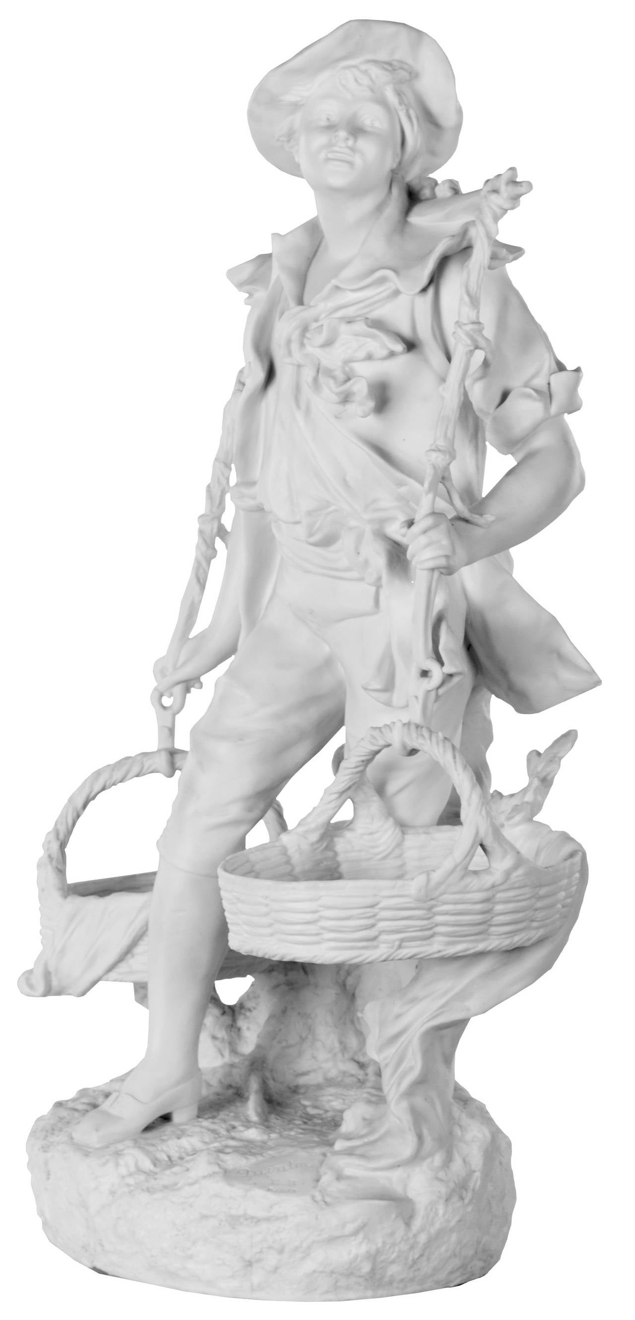 A French bisque porcelain sculpture of a young man carrying a load of two baskets traditionally used in harvesting grapes. The figure is dressed in Provincial, early-19th century costume and modeled with remarkable skill and confidence. Signed