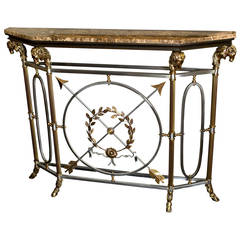 Italian Bronze and Brass Console Table with Marble Top