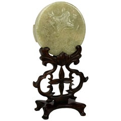 Carved Jade Disc on Elaborate Stand