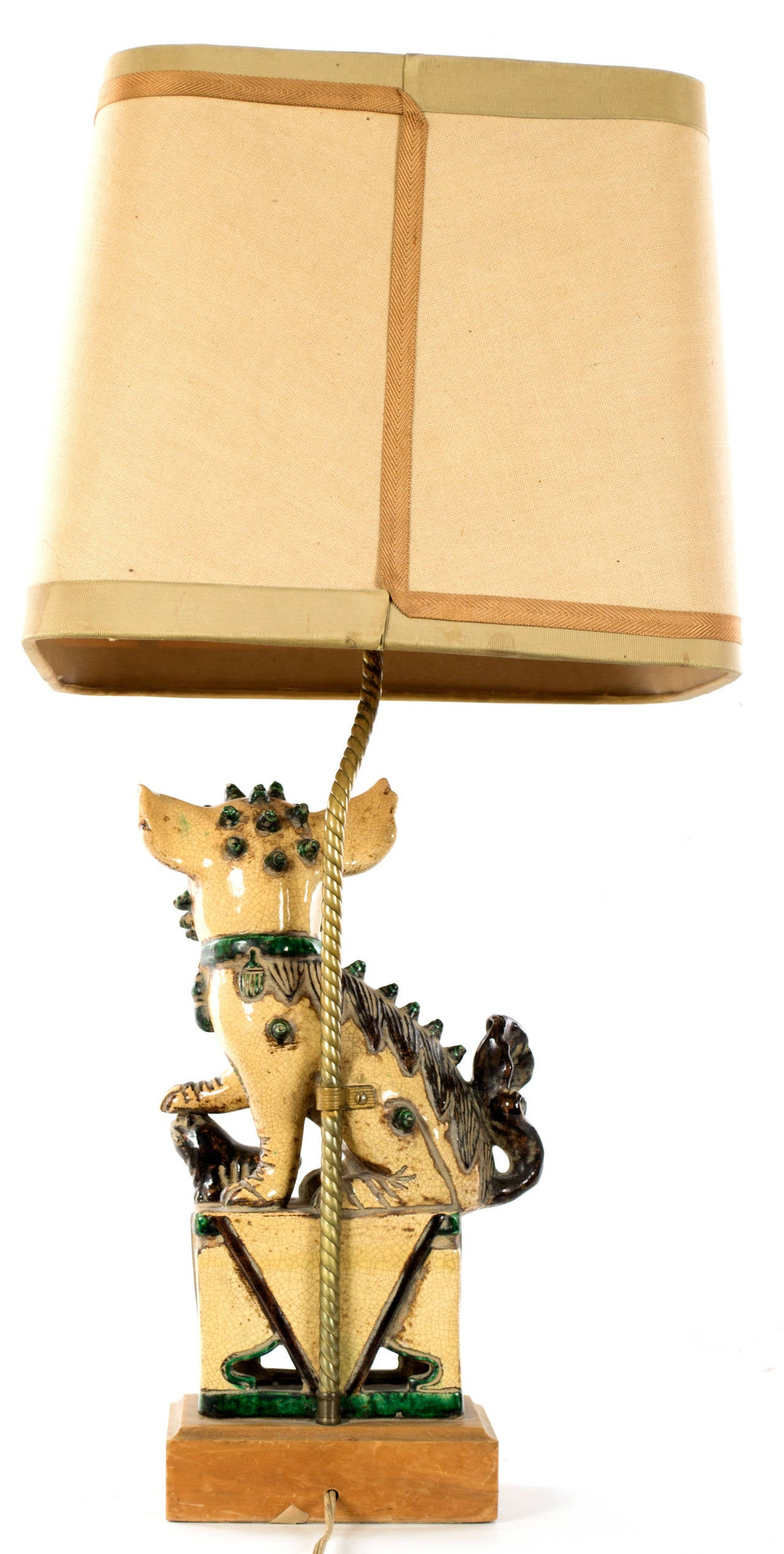 20th Century Chinese Stoneware Foo Dog Lamp For Sale