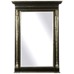 Large Ebonized and Silvered Tabernacle Framed Bevelled Mirror
