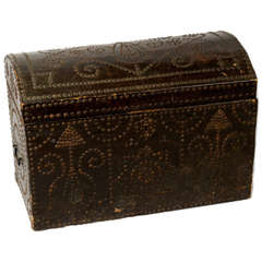 Morrocan Red Leather and Brass Studded Chest