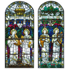 Pair of Pre-Raphaelite Stained Glass Windows