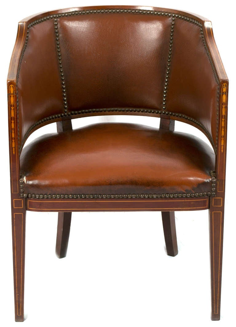 English Leather Barrel Chair At 1stdibs