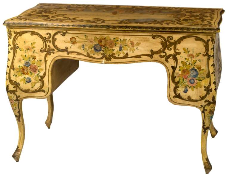 Painted Venetian Rococo Style Desk And Chair At 1stdibs