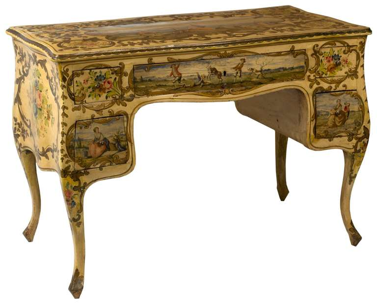 Rococo Revival Painted Venetian Style Desk And Chair For
