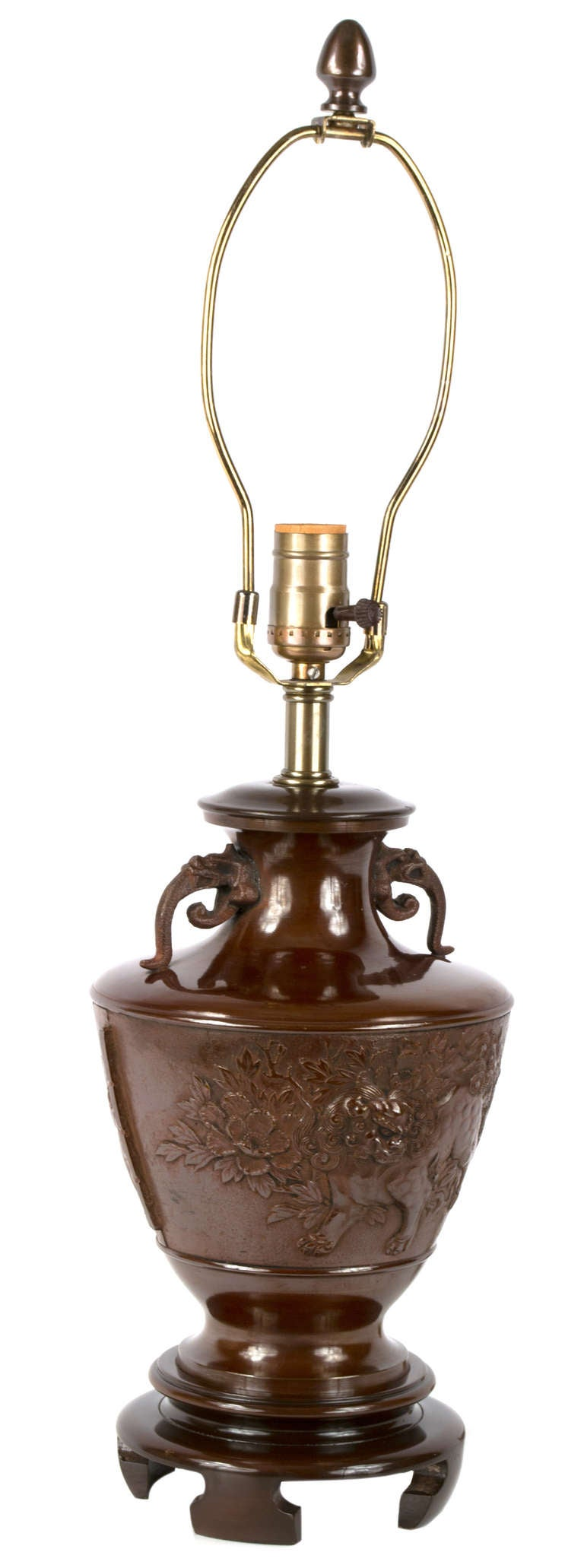 19th Century Bronze Chinese Baluster Lamp with Temple Lions 3