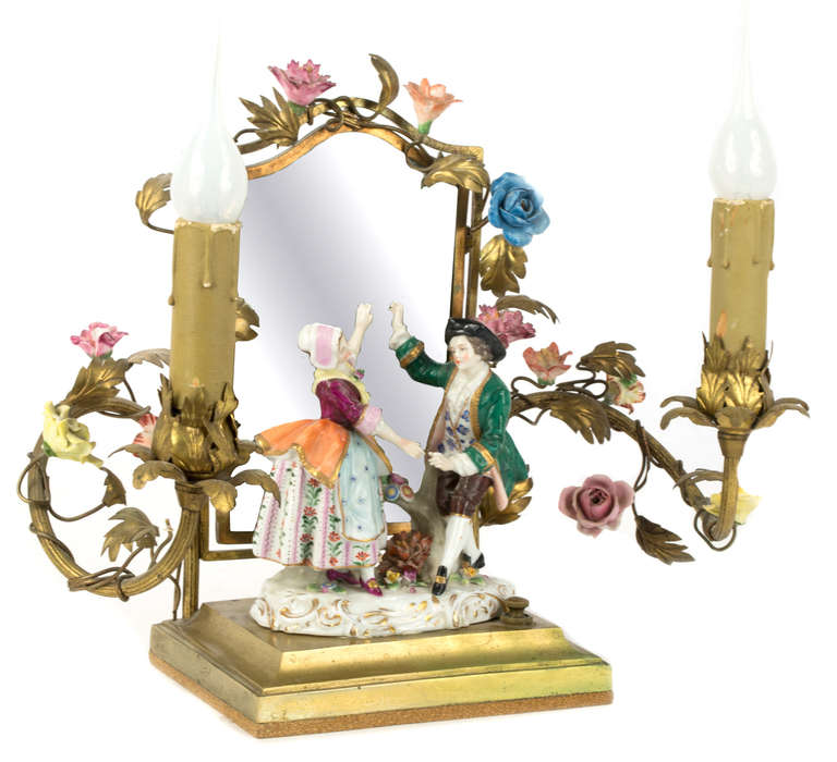 Pair of Dresden Porcelain and Ormolu Boudoir Lamps 2