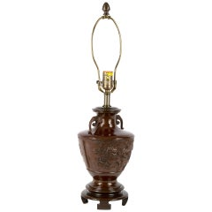 19th Century Bronze Chinese Baluster Lamp with Temple Lions