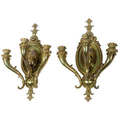 Pair of Monumental Polished Bronze Sconces