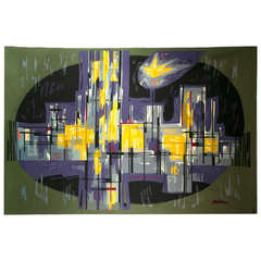 "Mid-Century ""Metropolis"" Aubusson Tapestry"