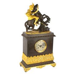French Louis Philippe Mantle Clock with Sculpture of Boar Hunt