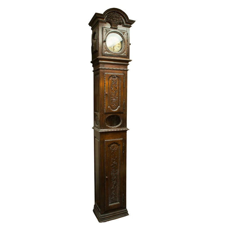 18th-Century French Long Case Clock from Normandy
