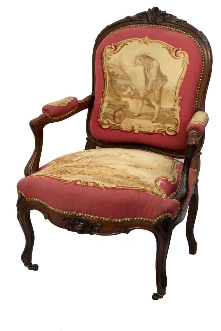 Set Of Rosewood Napoleon Iii Aubusson Salon Sofa And