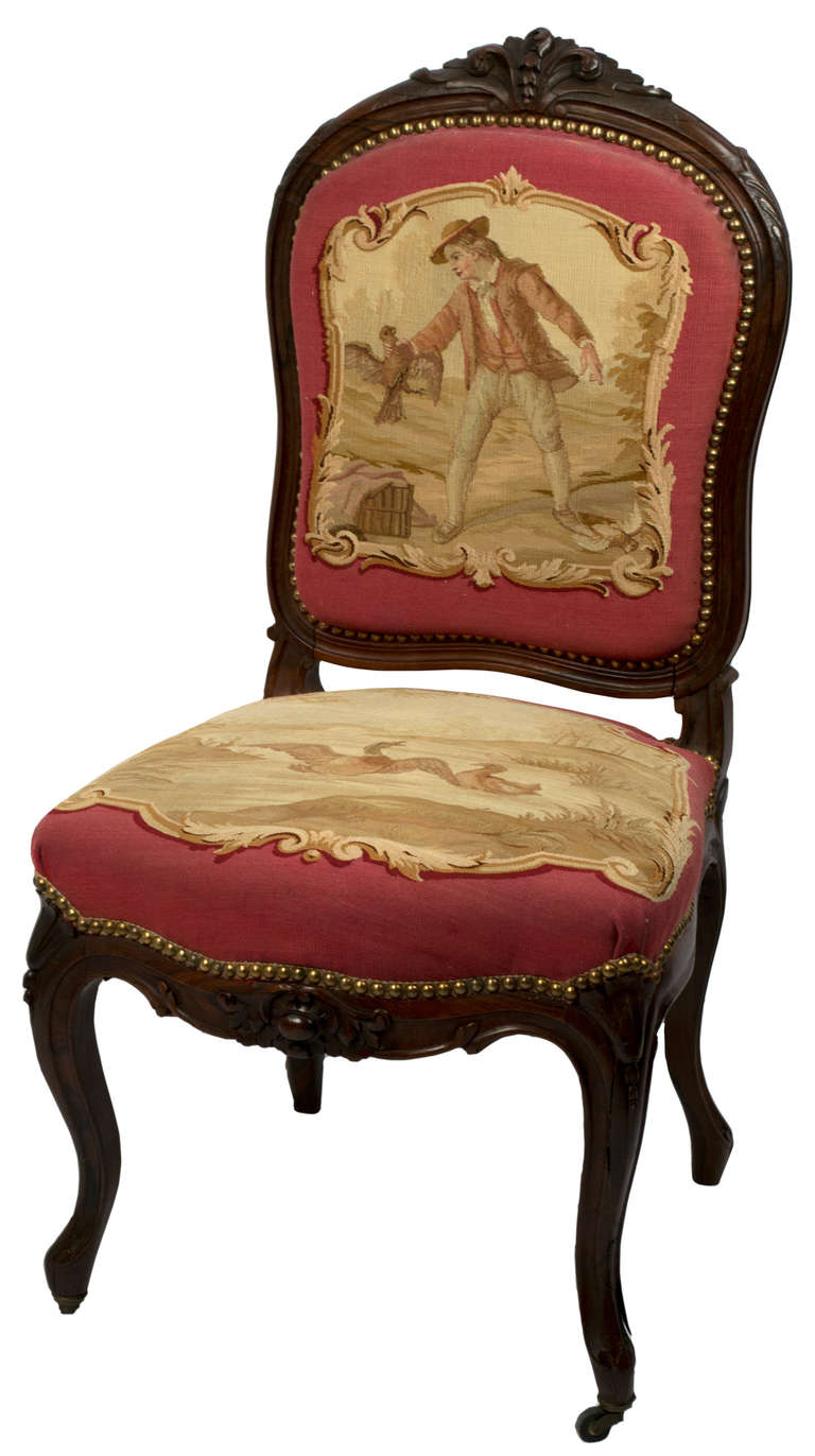 Set Of Rosewood Napoleon Iii Aubusson Salon Sofa And Chairs At 1stdibs