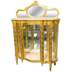 Gilt Napoleon III Vitrine with Curved Glass Sides