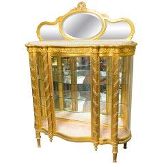 Gilt Napoleon III Vitrine with Curved Glass Sides