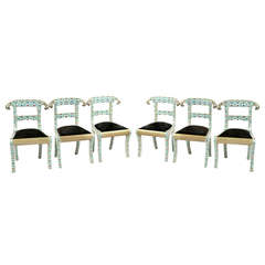 Set of Six Midcentury Indian Enameled Chairs