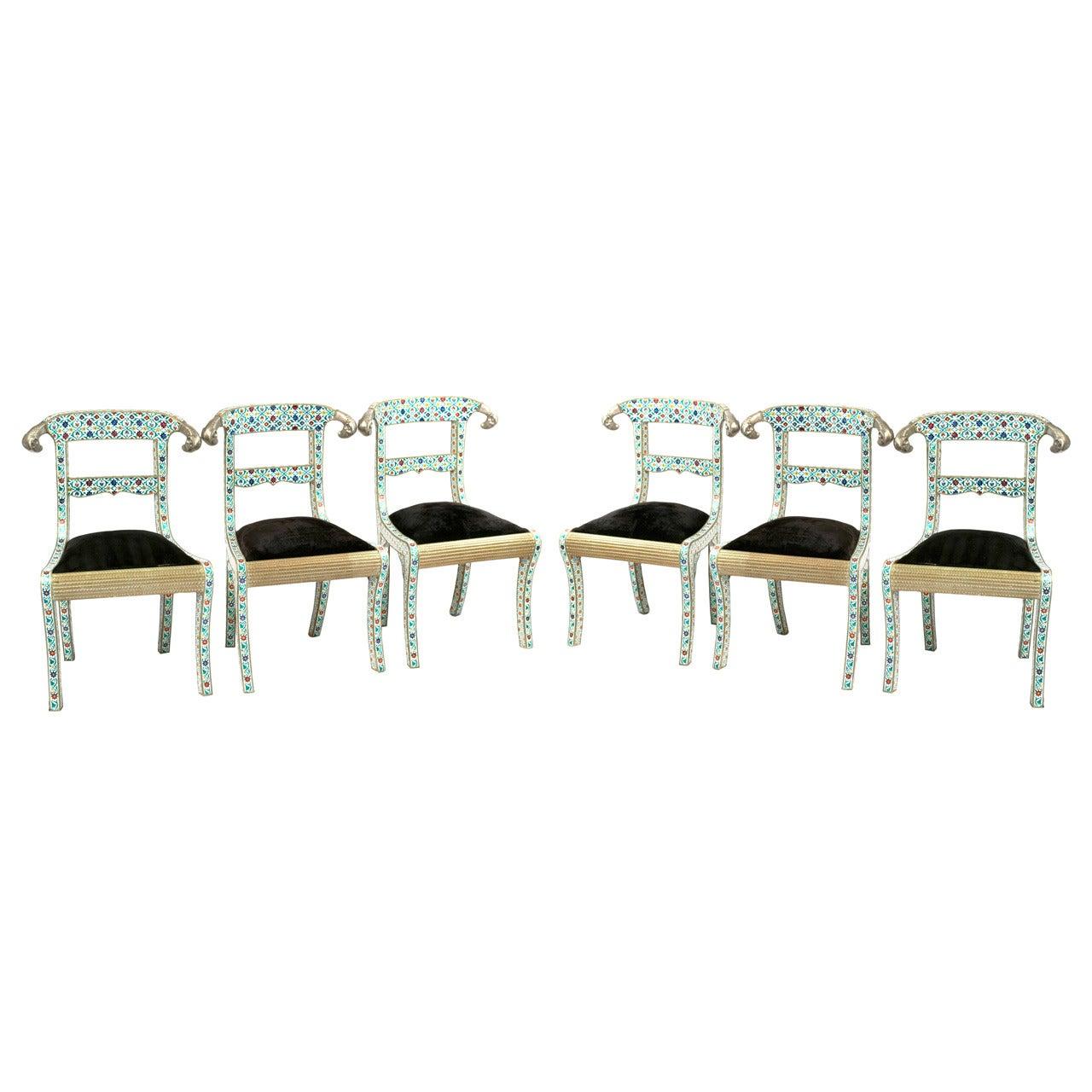 Set of Six Midcentury Indian Enameled Chairs
