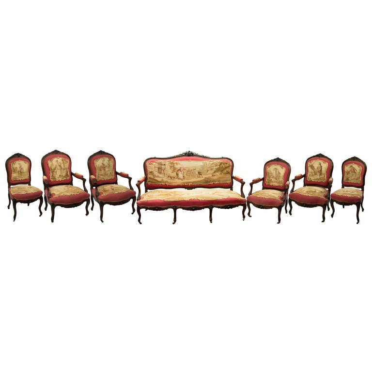 Set of Rosewood Napoleon III Aubusson Salon Sofa and Chairs