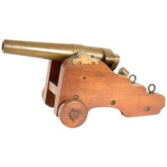 Cast Bronze and Carved Wood Signal Cannon