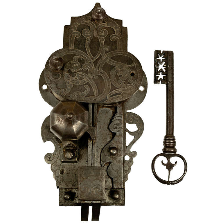 Large 16th century etched lock and key at 1stdibs for 18th key of the door