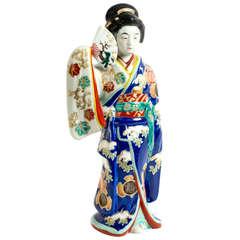 Large Japanese Meiji Porcelain Sculpture of a Geisha