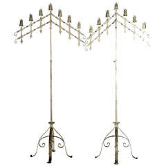 Pair of French Monumental Adjustable Wrought-Iron Candelabras