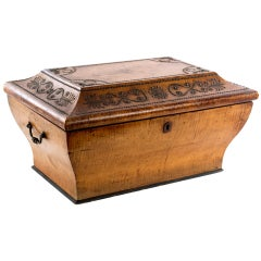 Large Moroccan Satinwood Box with Metal Inlay