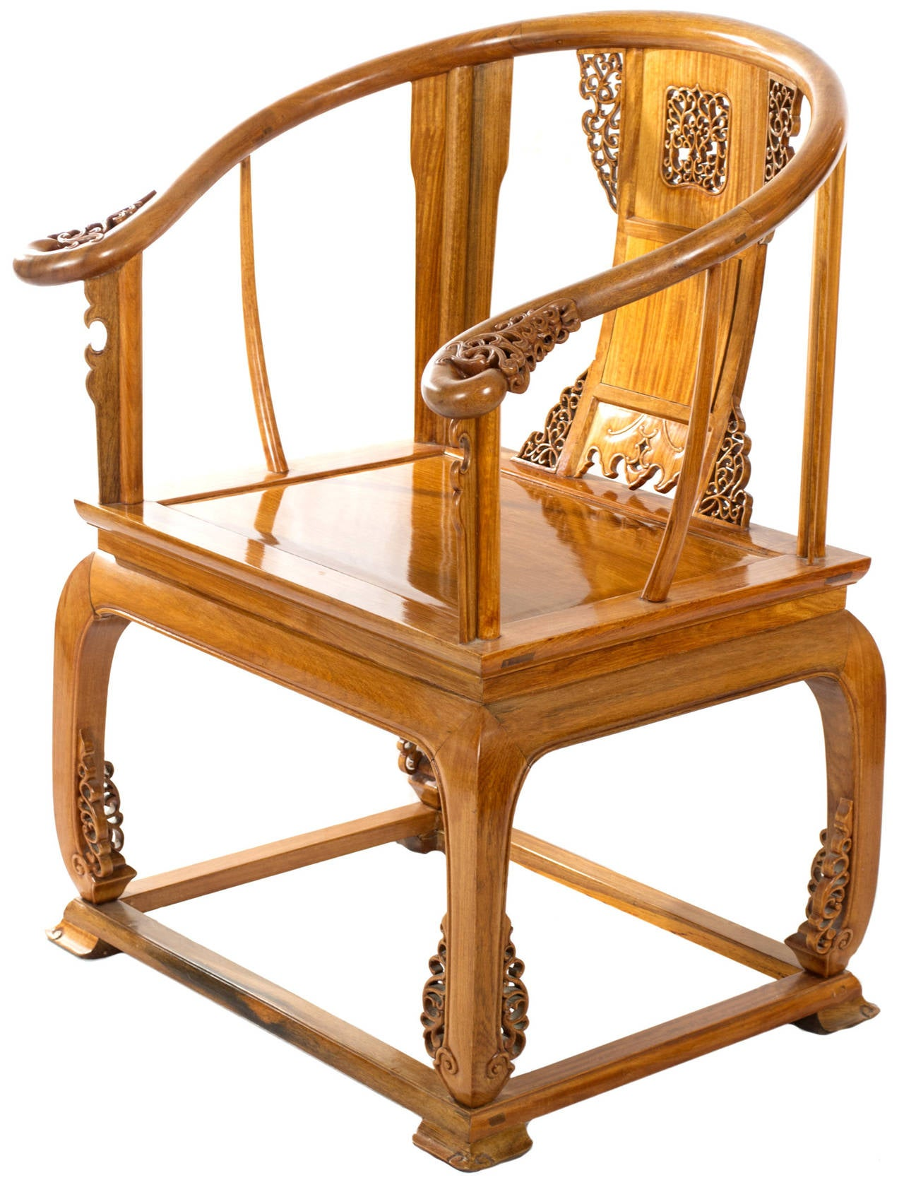 Antique Bed: Chinese Carved Huanghuali Wood Armchair At 1stdibs