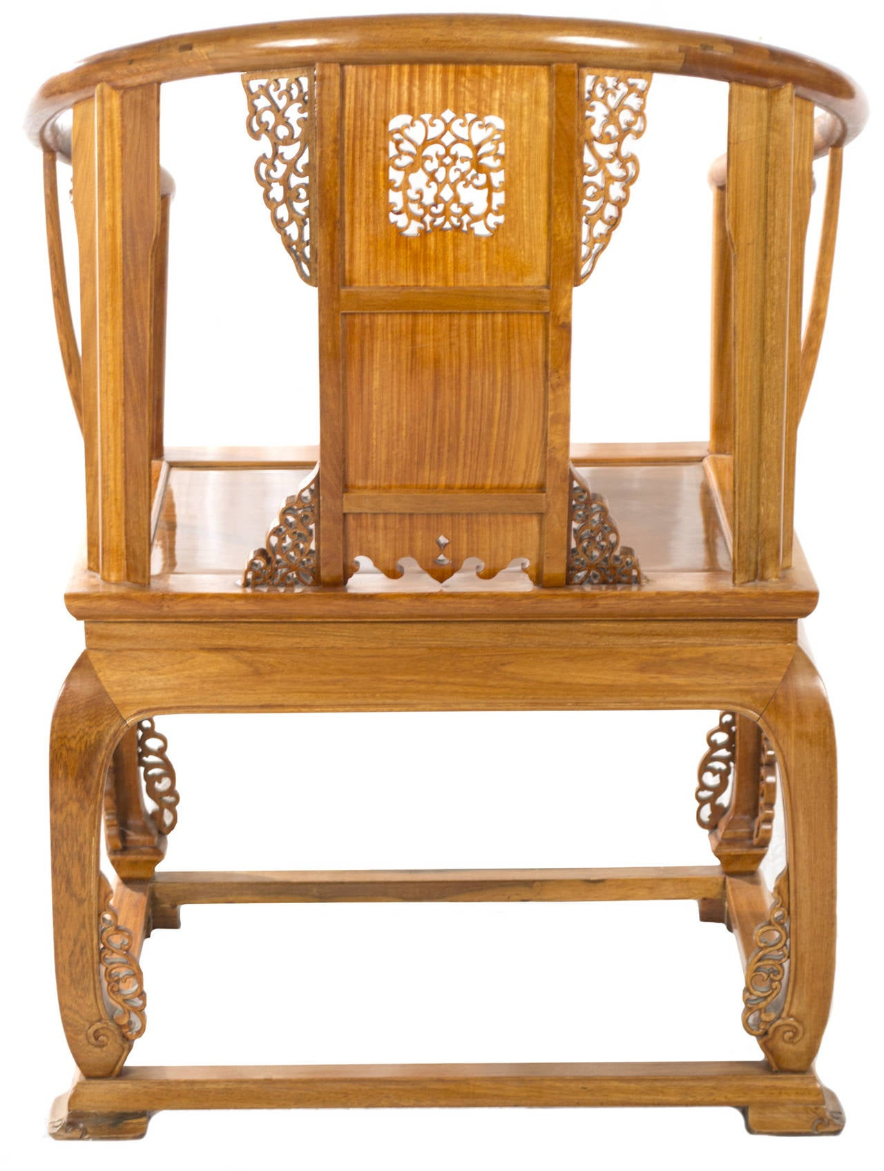 Chinese carved huanghuali wood armchair at 1stdibs for Oriental wood carved furniture