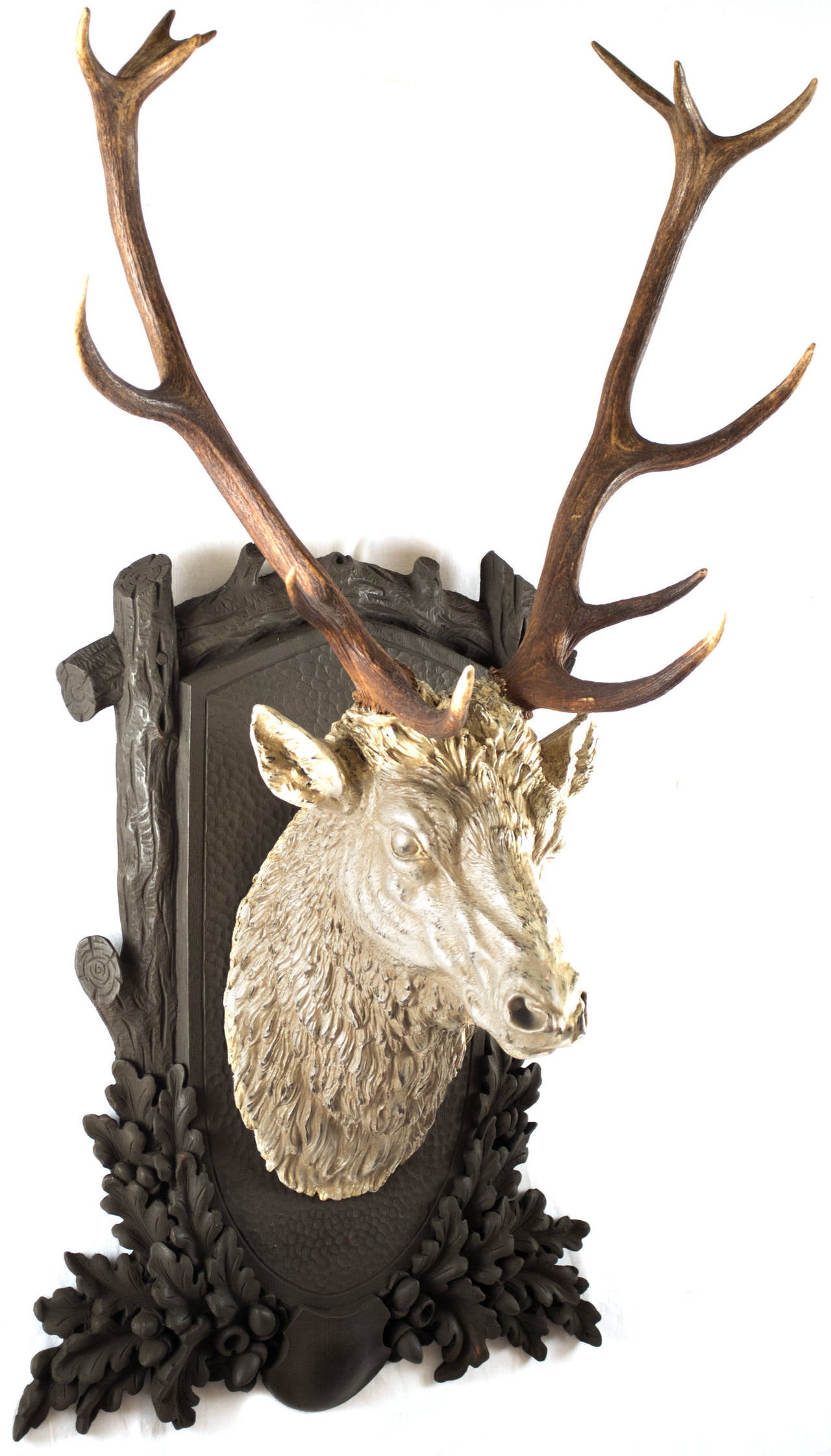 Carved And Gilt Black Forest Stag Head At 1stdibs