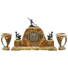 Monumental Art Deco Mantle Clock Set