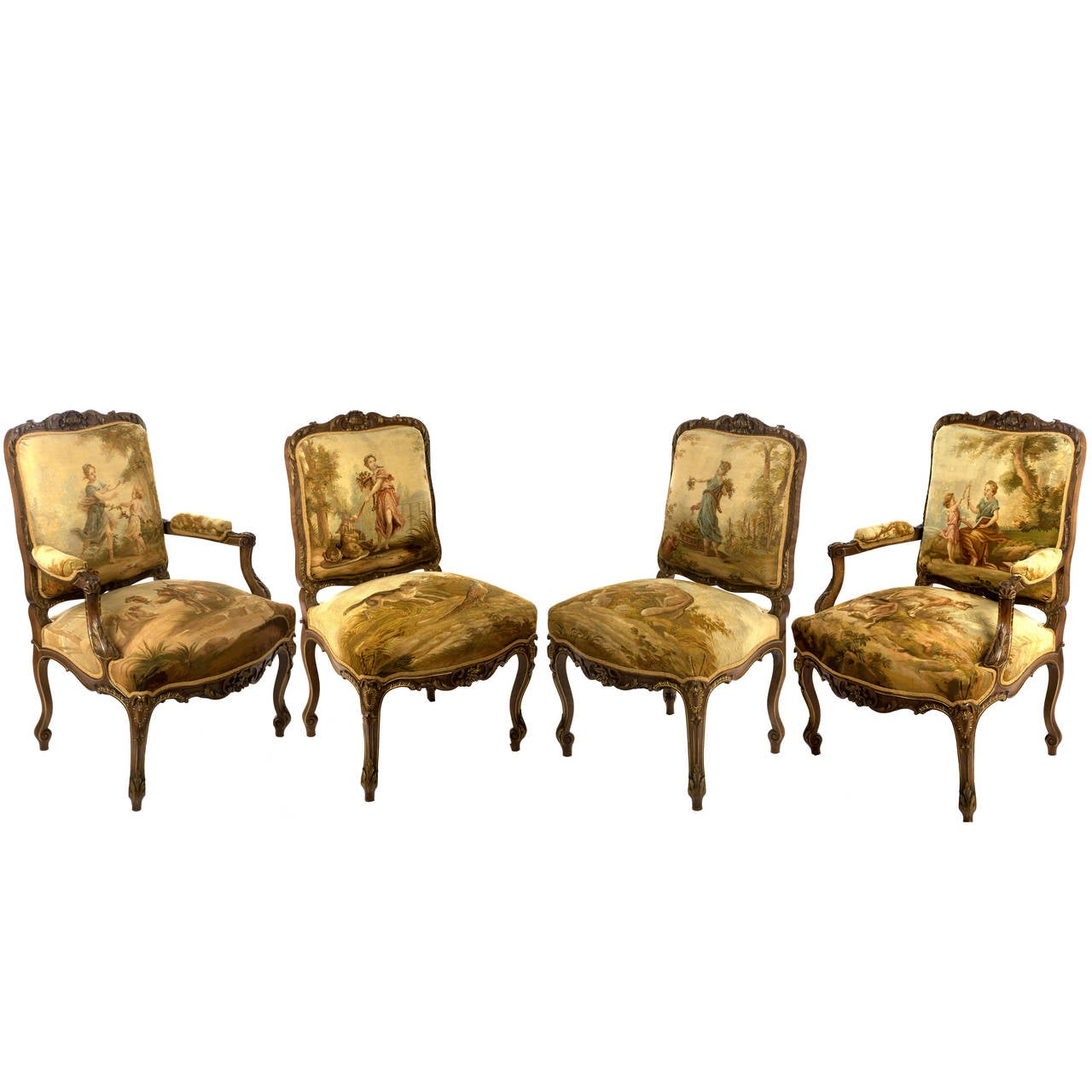 Set Of Four Gilt Aubusson Tapestry Mahogany Chairs 1