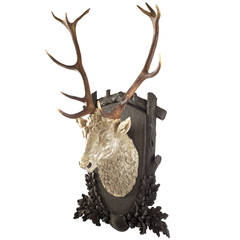 Carved and Gilt Black Forest Stag Head