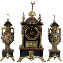Marble and Ormolu Orientalist French Clock Mantel and Clock Garniture