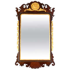 Large Carved Mahogany and Giltwood Mirror