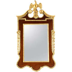 Large Mahogany and Carved Giltwood Mirror