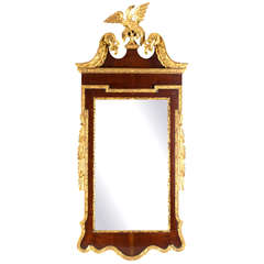 Large Carved Mahogany and Giltwood Mirror with Eagle