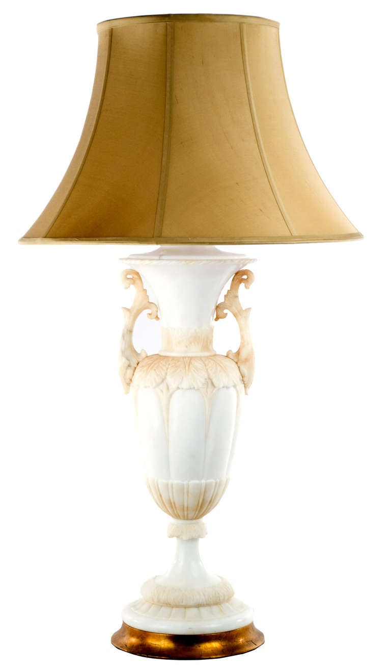 Carved Italian Alabaster Table Lamp For Sale at 1stdibs