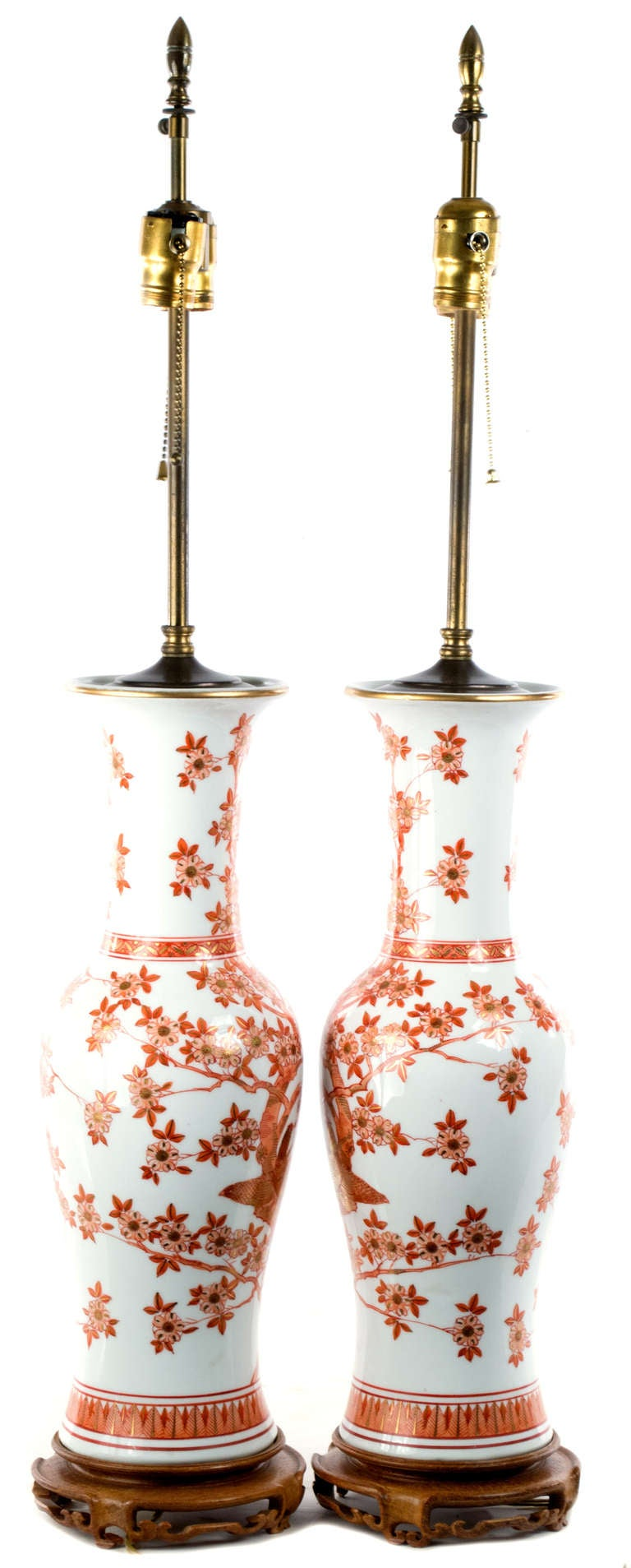 Mid-20th Century Pair of Large Lamped Baluster Vases For Sale