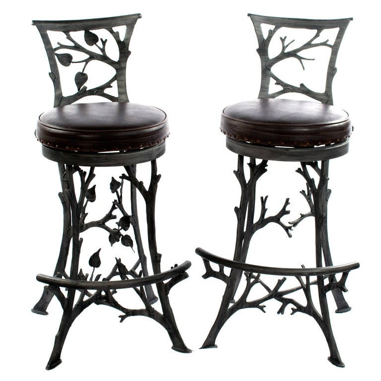 Pair of Sculptural Branch Barstools